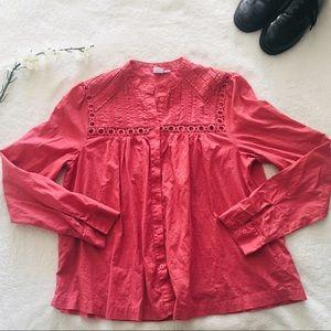 $5 W/ BUNDLE Gap Pink Crochet Trim Button Blouse